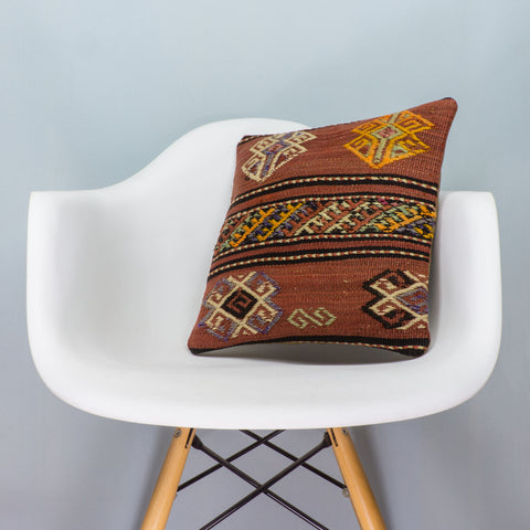 Anatolian Brown Kilim Pillow Cover 16x16 3797 - kilimpillowstore  - 1