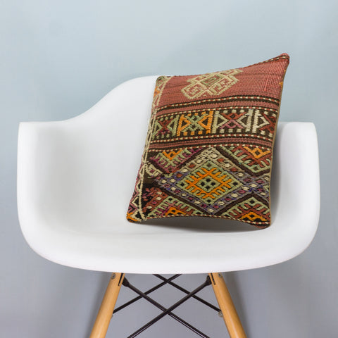 Anatolian Brown Kilim Pillow Cover 16x16 3798 - kilimpillowstore  - 1