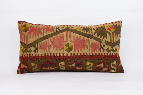 Anatolian Multi Color Kilim Pillow Cover 12x24 4241 - kilimpillowstore  - 1