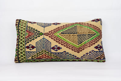 Anatolian Multi Color Kilim Pillow Cover 12x24 4277 - kilimpillowstore  - 1