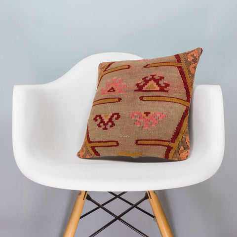 Anatolian Multi Color Kilim Pillow Cover 16x16 3394 - kilimpillowstore  - 1