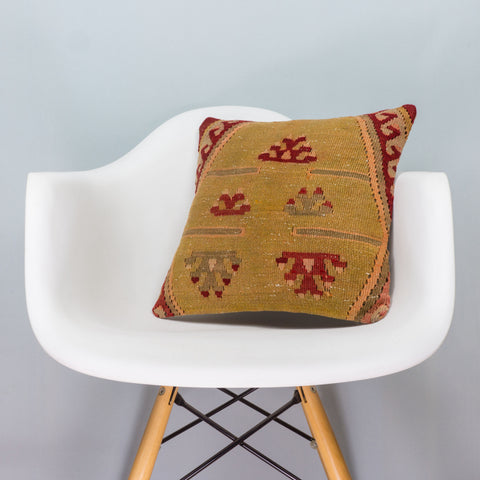 Anatolian Multi Color Kilim Pillow Cover 16x16 3395 - kilimpillowstore  - 1