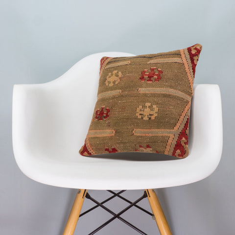 Anatolian Multi Color Kilim Pillow Cover 16x16 3396 - kilimpillowstore  - 1
