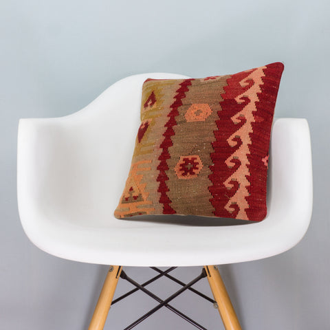 Anatolian Multi Color Kilim Pillow Cover 16x16 3397 - kilimpillowstore  - 1