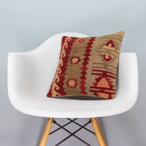 Anatolian Multi Color Kilim Pillow Cover 16x16 3398 - kilimpillowstore  - 1