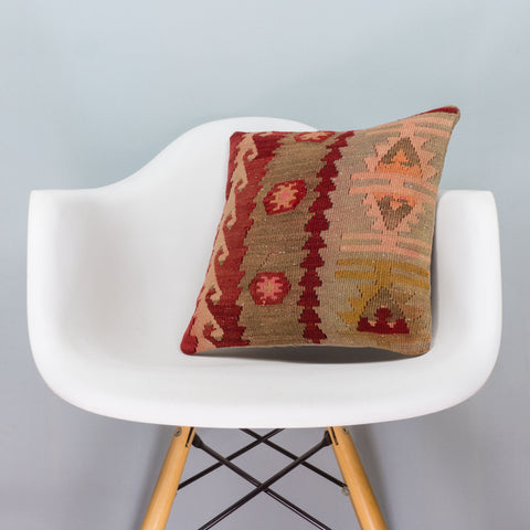 Anatolian Multi Color Kilim Pillow Cover 16x16 3399 - kilimpillowstore  - 1