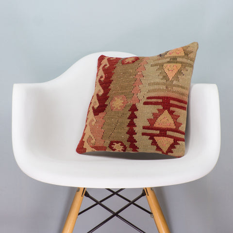 Anatolian Multi Color Kilim Pillow Cover 16x16 3405 - kilimpillowstore  - 1