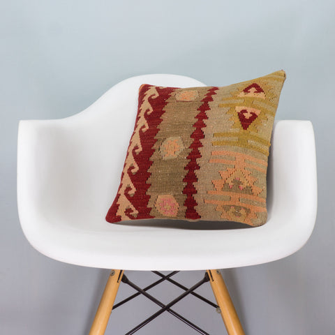 Anatolian Multi Color Kilim Pillow Cover 16x16 3406 - kilimpillowstore  - 1
