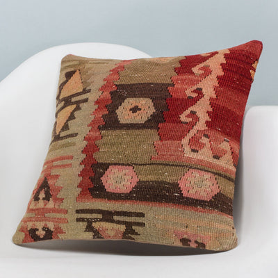 Anatolian Multi Color Kilim Pillow Cover 16x16 3407 - kilimpillowstore  - 2