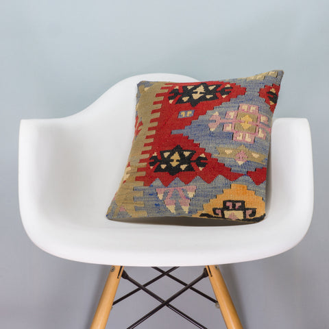 Anatolian Multi Color Kilim Pillow Cover 16x16 3426 - kilimpillowstore  - 1