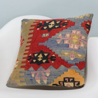Anatolian Multi Color Kilim Pillow Cover 16x16 3426 - kilimpillowstore  - 2