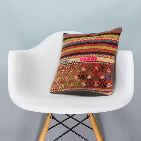 Anatolian Multi Color Kilim Pillow Cover 16x16 3593 - kilimpillowstore  - 1