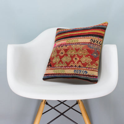 Anatolian Multi Color Kilim Pillow Cover 16x16 3596 - kilimpillowstore  - 1