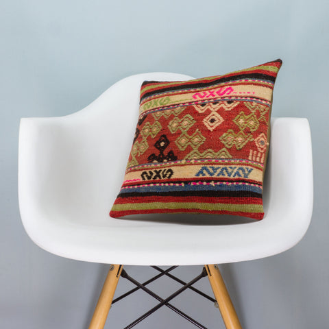 Anatolian Multi Color Kilim Pillow Cover 16x16 3598 - kilimpillowstore  - 1