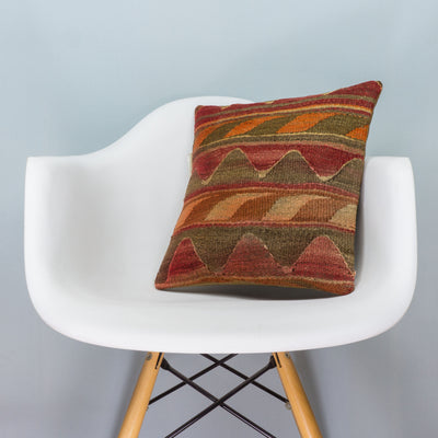 Anatolian Multi Color Kilim Pillow Cover 16x16 3622 - kilimpillowstore  - 1