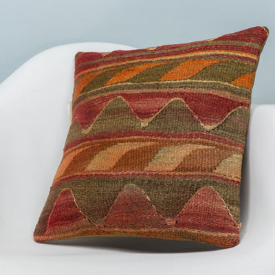 Anatolian Multi Color Kilim Pillow Cover 16x16 3622 - kilimpillowstore  - 2