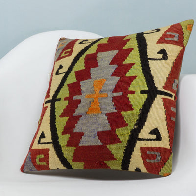 Anatolian Multi Color Kilim Pillow Cover 16x16 3625 - kilimpillowstore  - 2