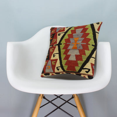 Anatolian Multi Color Kilim Pillow Cover 16x16 3626 - kilimpillowstore  - 1