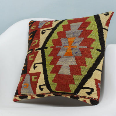 Anatolian Multi Color Kilim Pillow Cover 16x16 3626 - kilimpillowstore  - 2