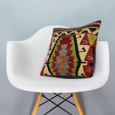 Anatolian Multi Color Kilim Pillow Cover 16x16 3627 - kilimpillowstore  - 1