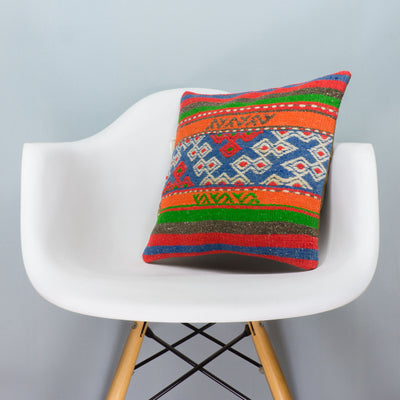 Anatolian Multi Color Kilim Pillow Cover 16x16 3647 - kilimpillowstore  - 1