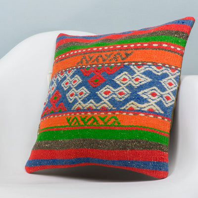 Anatolian Multi Color Kilim Pillow Cover 16x16 3647 - kilimpillowstore  - 2