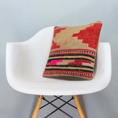 Anatolian Multi Color Kilim Pillow Cover 16x16 3835 - kilimpillowstore  - 1