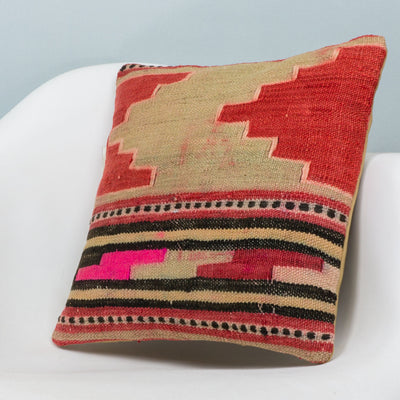 Anatolian Multi Color Kilim Pillow Cover 16x16 3835 - kilimpillowstore  - 2