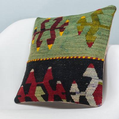 Anatolian Multi Color Kilim Pillow Cover 16x16 3895 - kilimpillowstore  - 2