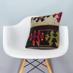 Anatolian Multi Color Kilim Pillow Cover 16x16 3897 - kilimpillowstore  - 1