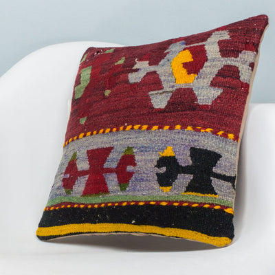 Anatolian Multi Color Kilim Pillow Cover 16x16 3900 - kilimpillowstore  - 2