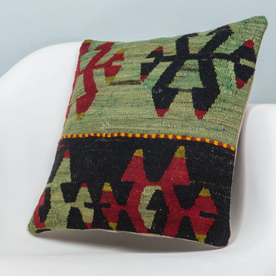 Anatolian Multi Color Kilim Pillow Cover 16x16 3902 - kilimpillowstore  - 2