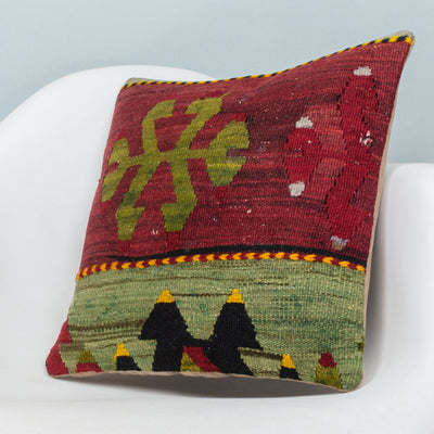 Anatolian Multi Color Kilim Pillow Cover 16x16 3905 - kilimpillowstore  - 2
