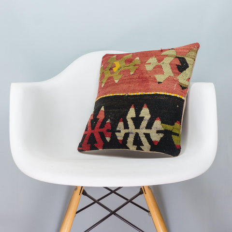 Anatolian Multi Color Kilim Pillow Cover 16x16 3908 - kilimpillowstore  - 1