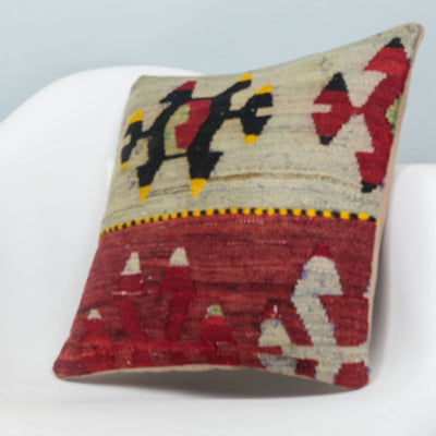 Anatolian Multi Color Kilim Pillow Cover 16x16 3912 - kilimpillowstore  - 2