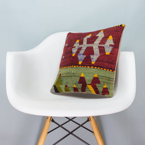 Anatolian Multi Color Kilim Pillow Cover 16x16 3915 - kilimpillowstore  - 1