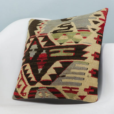 Anatolian Multi Color Kilim Pillow Cover 16x16 3945 - kilimpillowstore  - 2