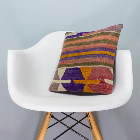 Anatolian Multi Color Kilim Pillow Cover 16x16 4033 - kilimpillowstore  - 1