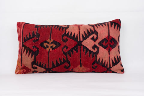 Anatolian Red Kilim Pillow Cover 12x24 4363 - kilimpillowstore  - 1