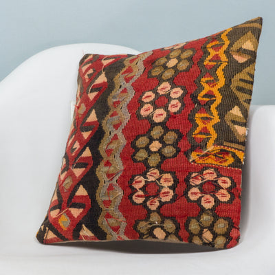 Anatolian Red Kilim Pillow Cover 16x16 3827 - kilimpillowstore  - 2