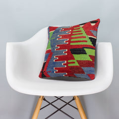 Chevron Multi Color Kilim Pillow Cover 16x16 3282 - kilimpillowstore  - 1