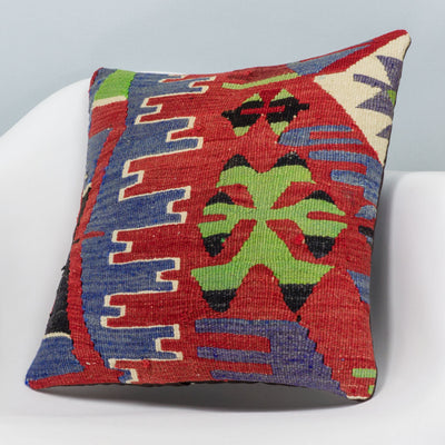 Chevron Multi Color Kilim Pillow Cover 16x16 3286 - kilimpillowstore  - 2