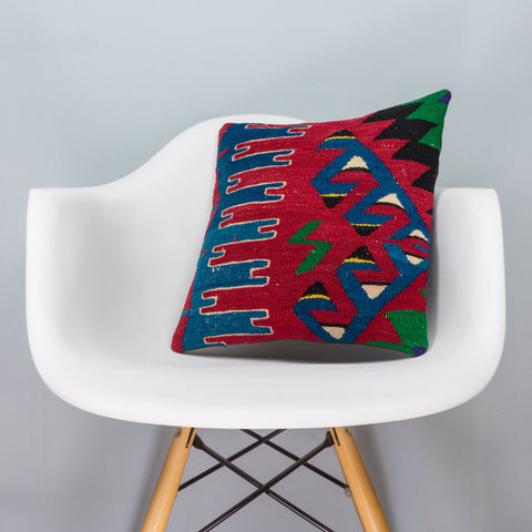 Chevron Multi Color Kilim Pillow Cover 16x16 3300 - kilimpillowstore  - 1