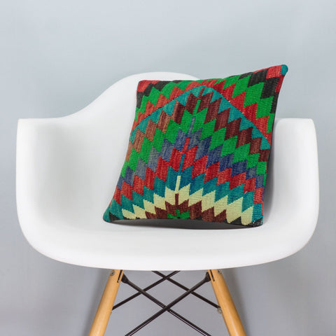 Chevron Multi Color Kilim Pillow Cover 16x16 3315 - kilimpillowstore  - 1