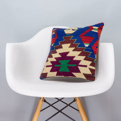 Chevron Multi Color Kilim Pillow Cover 16x16 3319 - kilimpillowstore  - 1