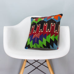 Chevron Multi Color Kilim Pillow Cover 16x16 3325 - kilimpillowstore  - 1