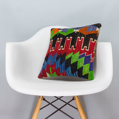 Chevron Multi Color Kilim Pillow Cover 16x16 3331 - kilimpillowstore  - 1