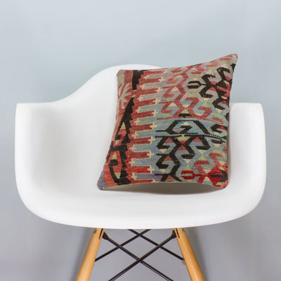 Chevron Multi Color Kilim Pillow Cover 16x16 3373 - kilimpillowstore  - 1