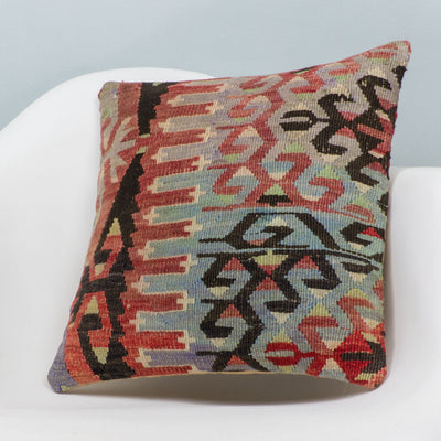 Chevron Multi Color Kilim Pillow Cover 16x16 3373 - kilimpillowstore  - 2