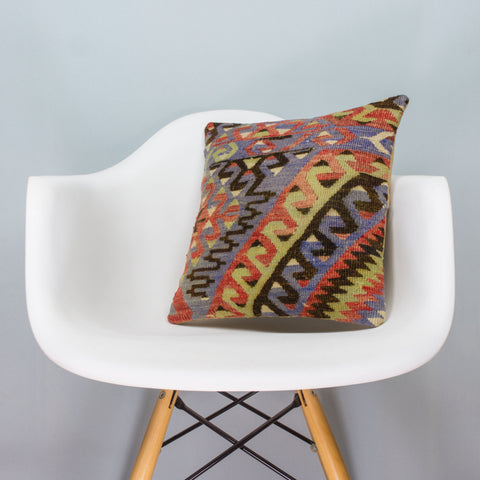 Chevron Multi Color Kilim Pillow Cover 16x16 3376 - kilimpillowstore  - 1